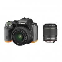 Зеркальная камера Pentax K-S2 + объективы DA 18-50 DC WR + DA 50-200 DC WR, черный/оранжевый